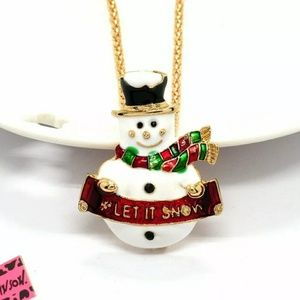 NWT Betsey Johnson Snowman Sweater Necklace.